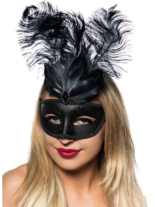 Women's Black Masquerade Mask With Black Feathers Main Image
