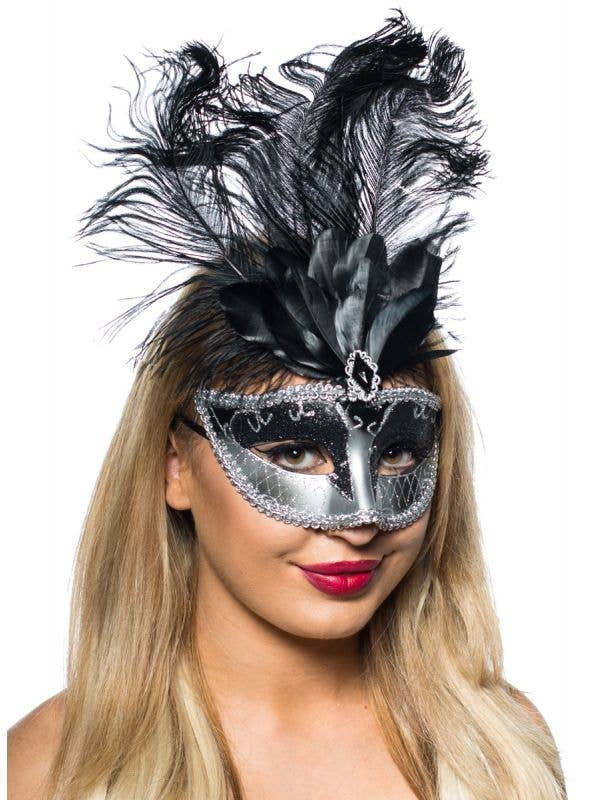 Black and Silver Masquerade Mask with Tall Black Feathers - Altenate Image