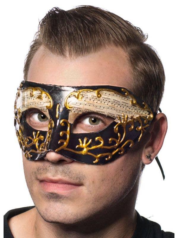 Men's Black And Gold Music Notes Masquerade Mask Main Image