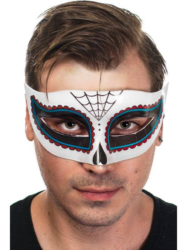 Day of the Dead Sugar Skull Men's Half Face Masquerade Mask