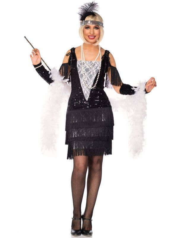 Women's Black and White Lace 1920's Flapper Costume Front