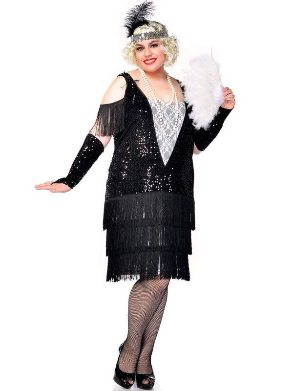 Women's Black and White 1920's Great Gatsby Plus Size Flapper Costume Front
