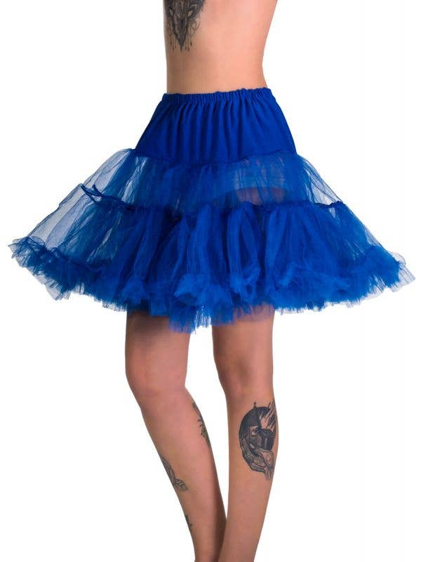 Women's Royal Blue Fluffy Thigh Length Costume Petticoat