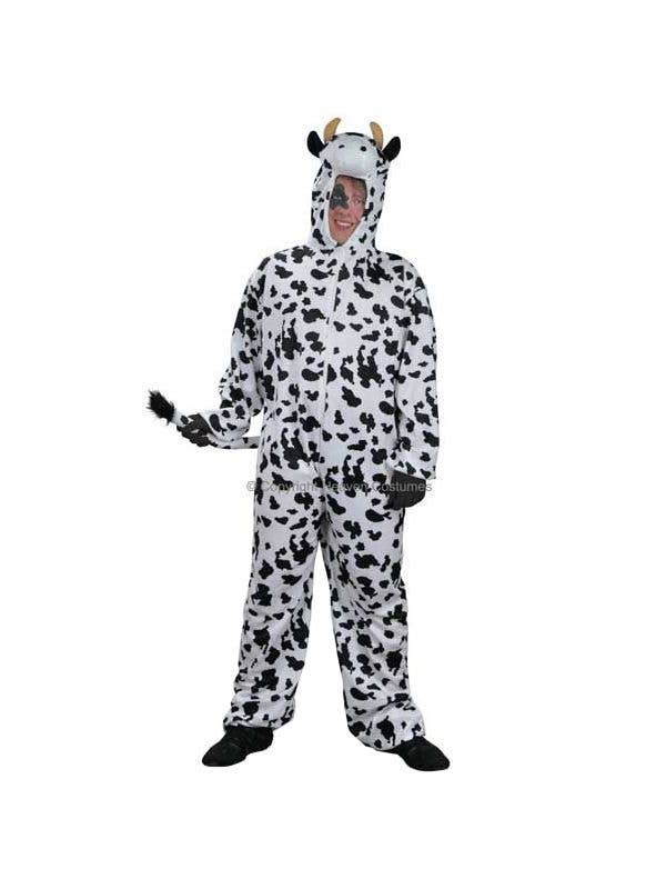 Black and White Spotty Cow Costume Onesie for Adults