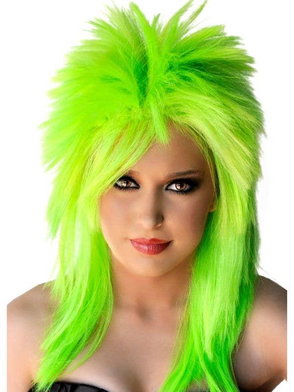 Neon Green Punk Rocker Women's Mullet Costume Wig