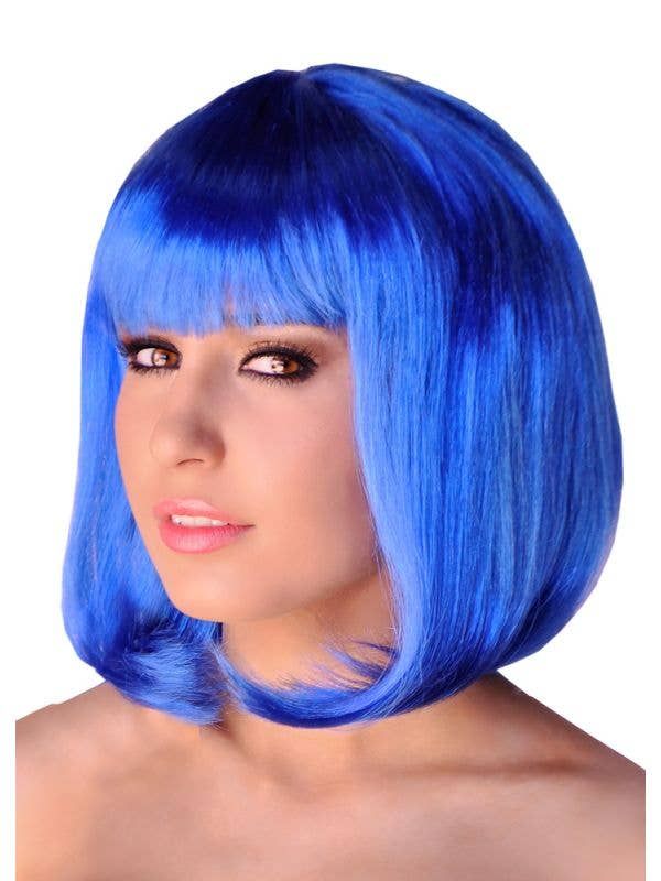 Short Electric Blue Women's Bob Costume Wig with Fringe View 1