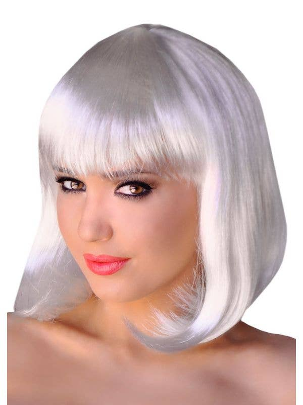 Short White Women's Bob Costume Wig with Fringe