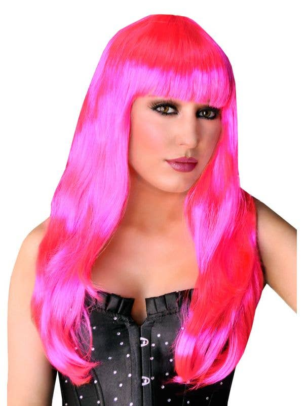 Women's Hot Pink Rave Costume Wig