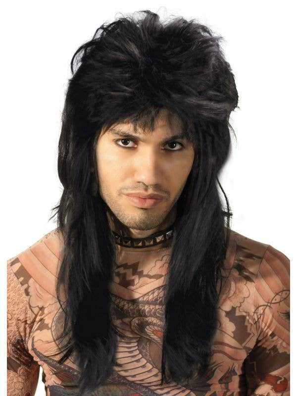 Men's Black Bogan Mullet Wig 80s Costume Accessory - Main Image