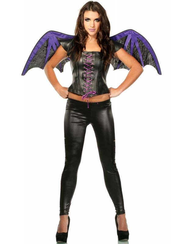 Women's Black and Purple Gothic Bat Halloween Costume Set with Wings and Top - Main View