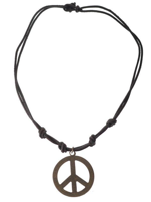 Deluxe Leather and Bronze Men's Hippie Peace Sign Costume Necklace