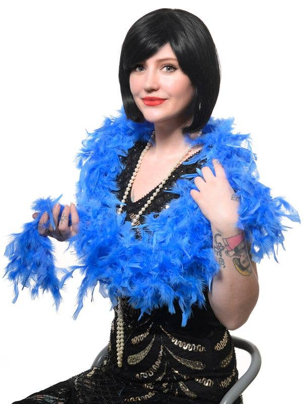 Royal Blue Fluffy Feather Costume Boa - Main View