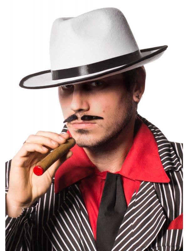 Mens White 1920s Gangster Fedora Costume Hat - Main Image