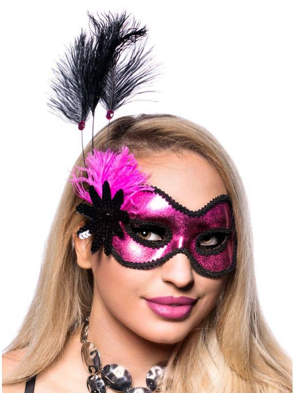 Metallic Hot Pink Vinyl Masquerade Mask with Black Trim Edges and Side Feathers