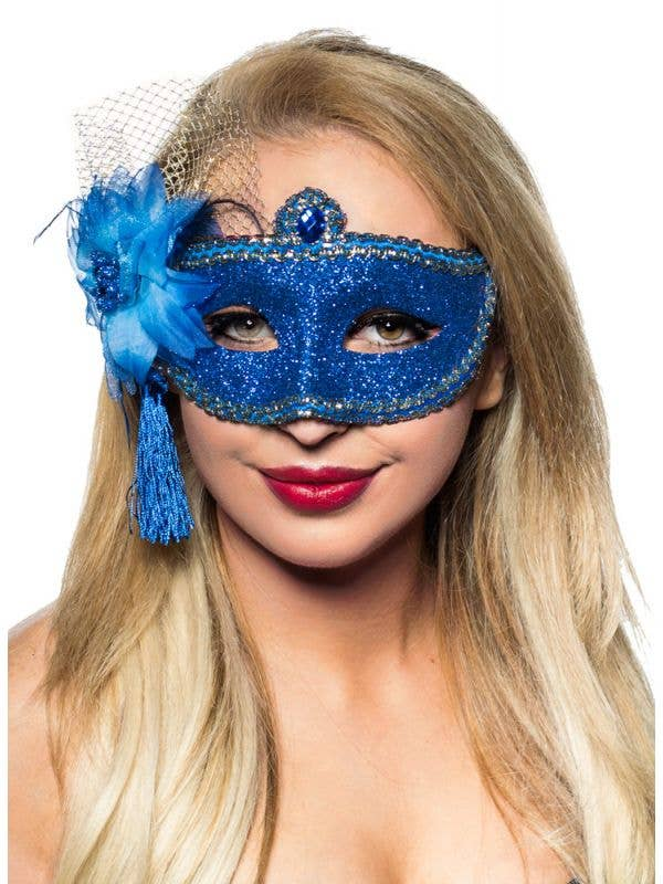 Womens Blue Glitter Mask with Flower Side Feather Costume Masquerade Mask - Main Image