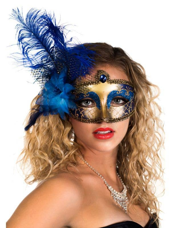 Victorian Masquerade Mask Blue and Gold Genuine Elevate Costumes - Main Image