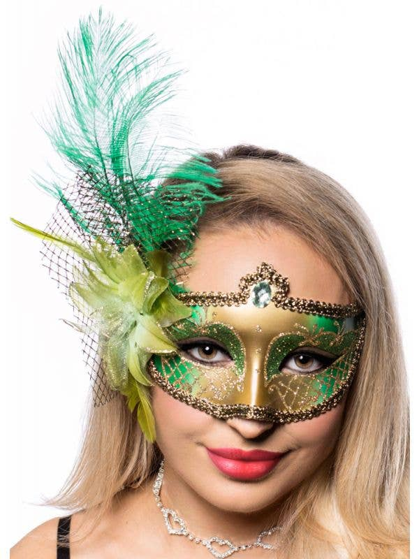Green Victorian Masquerade Mask with a Flower and Feathers Front View