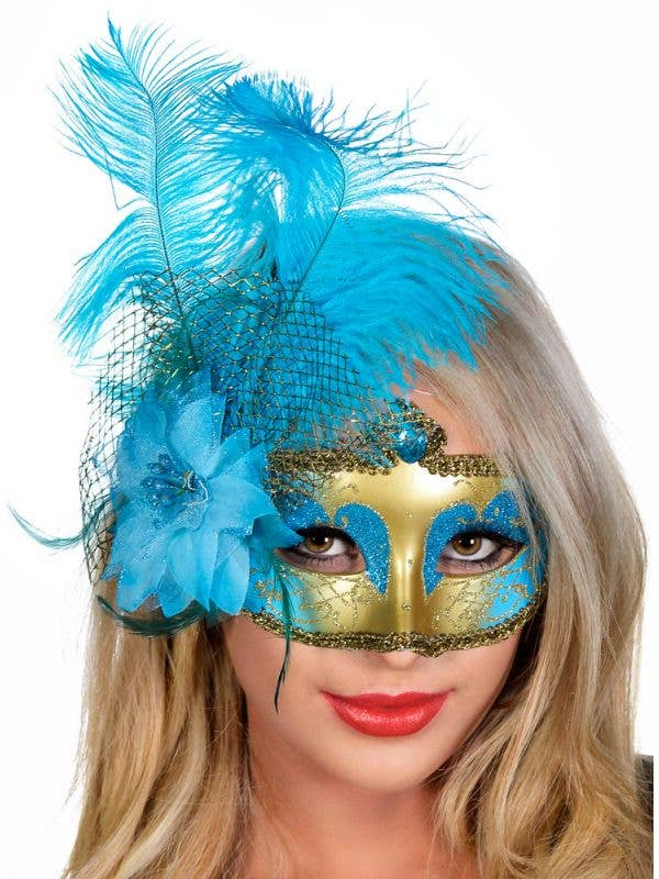 Aqua and Gold Victorian Masquerade Mask with Side Feathers View 1