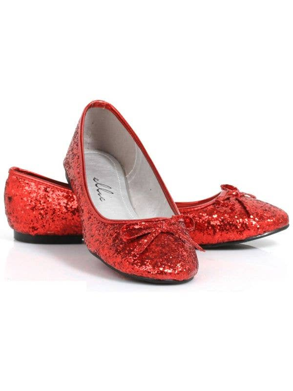 Women's Red Glitter Dorothy Wizard of Oz Flat Costume Shoes Main Image