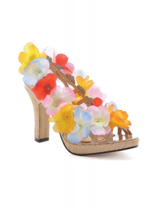 Women's Hawaiian Luau Tropical Colourful Lei Costume High Heel Shoes With Flowers Back Image