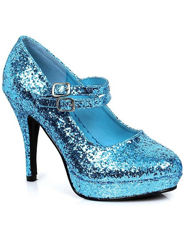 """Women's Light Blue Cinderella 4"""" High Heel Costume Shoes With Double Strap Alt Image"""
