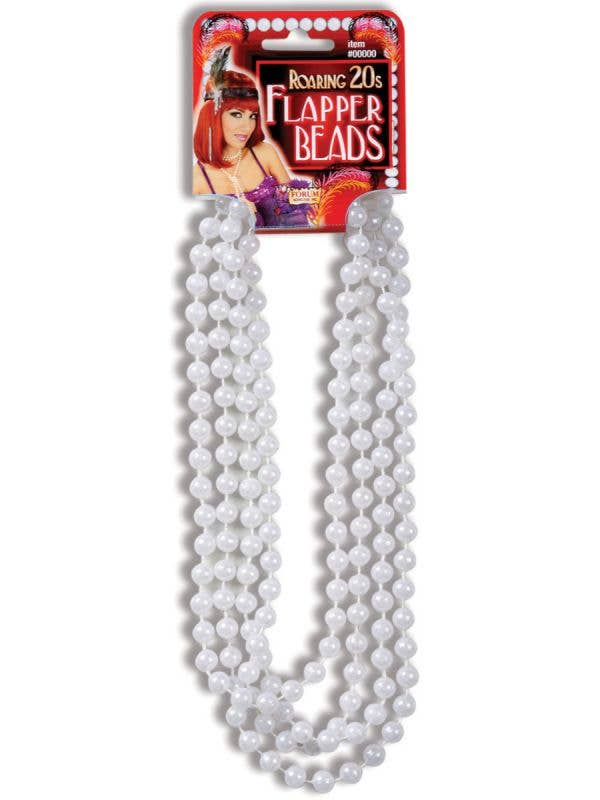 White Pearl Roaring 20s Flapper Beads Costume Accessory Main Image