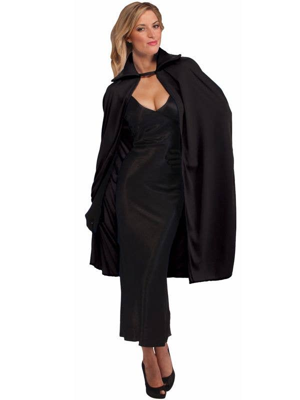 Adult's Classic Black Halloween Costume Cape with Stand Up Collar