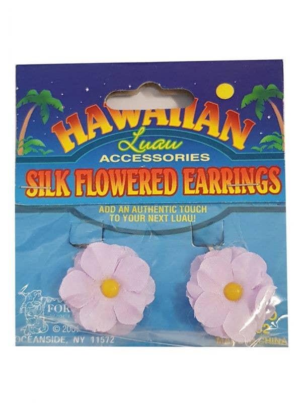 Clip On Purple Flower Hawaiian Earrings Costume Accessory