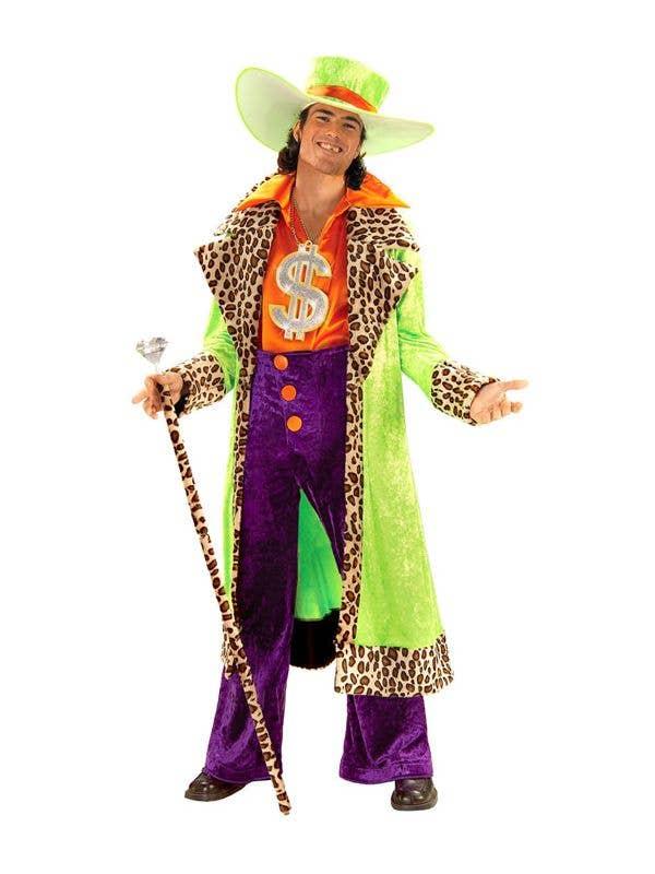 Fluro Coloured Men's Plus Size Mac Daddy Pimp Costume Main Image