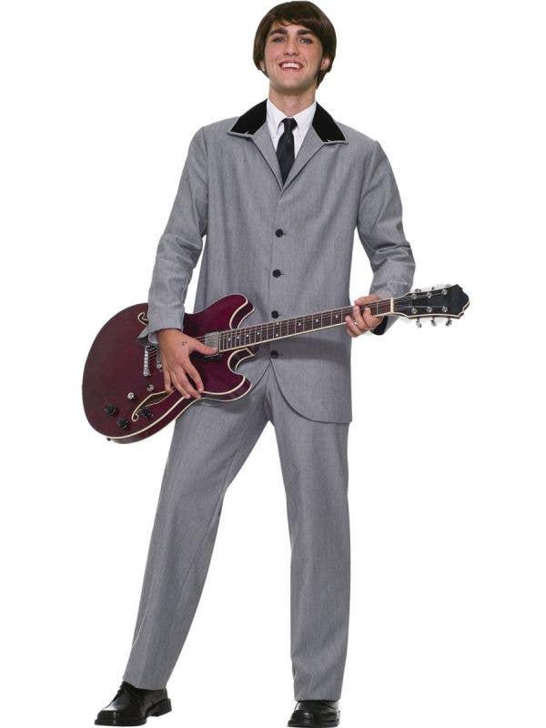 Men's British Invasion 1960s Grey Suit Beatles Fancy Dress Costume Main Image