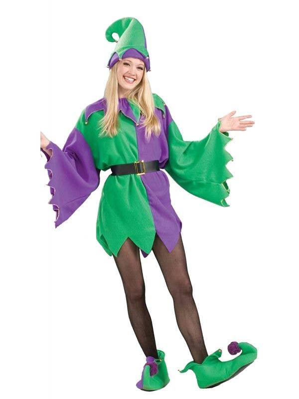Women's Green and Purple Christmas Elf Helper Costume - Main Image