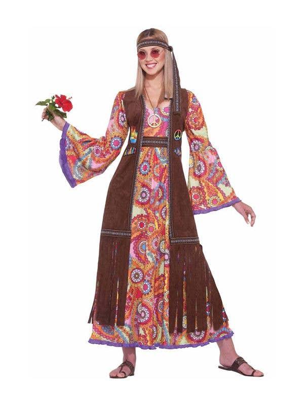 Love n Peace Hippie Costume 60s 70s Youth Halloween Costume Dress Headband