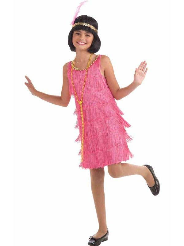 Girls Pink Flapper Dress 1920s Costume - Front View