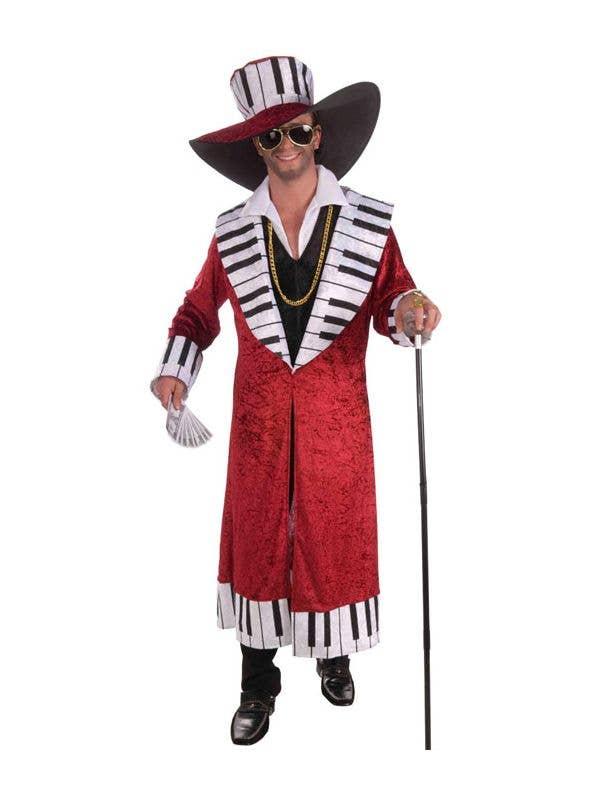 Red Velvet Piano Player Men's Mac Daddy Pimp Costume - Main Image