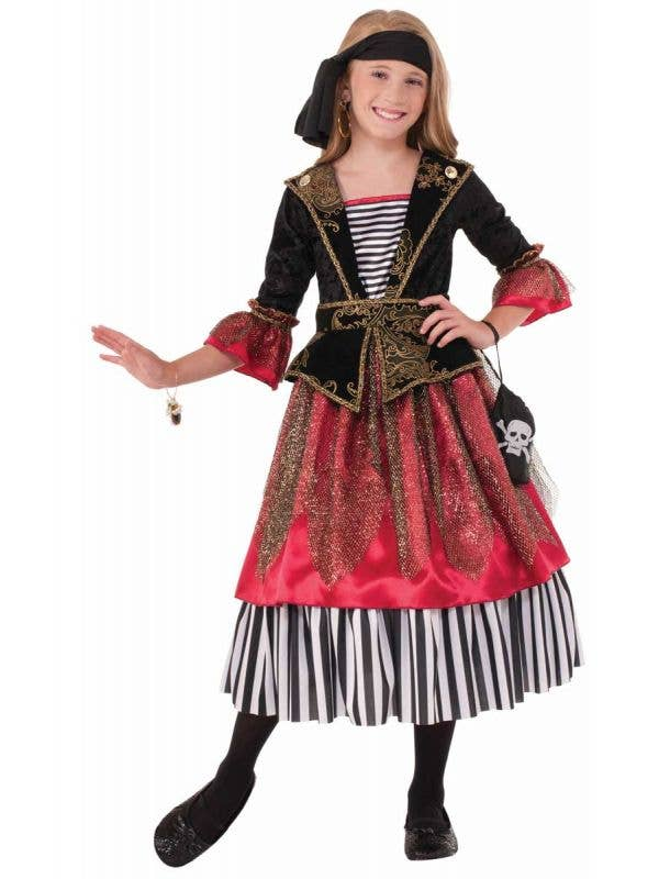 Pirate Wench Girl's Buccaneer Costume Front View