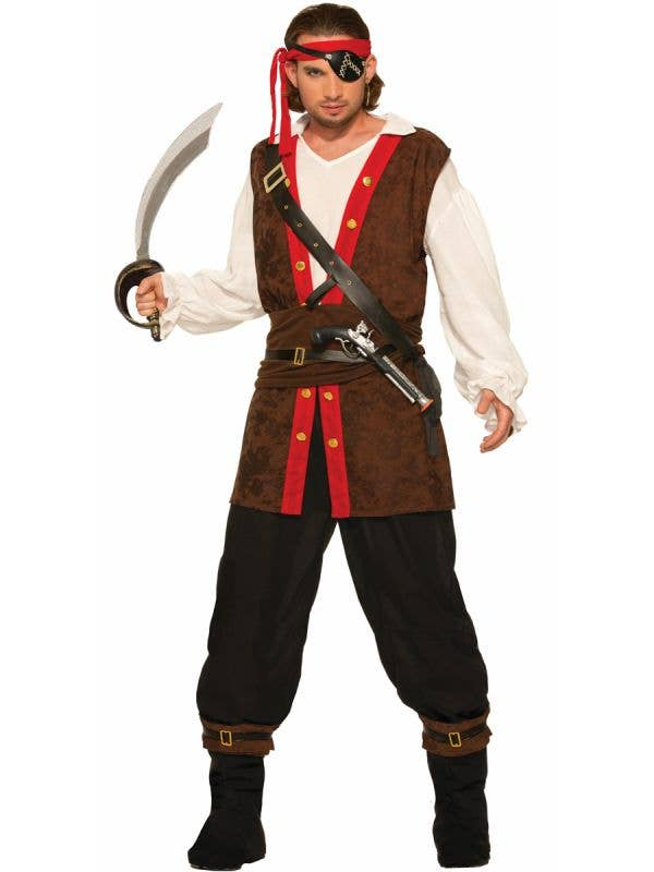 Pirate Bounty Mens Brown Red White Fancy Dress Costume Main Image