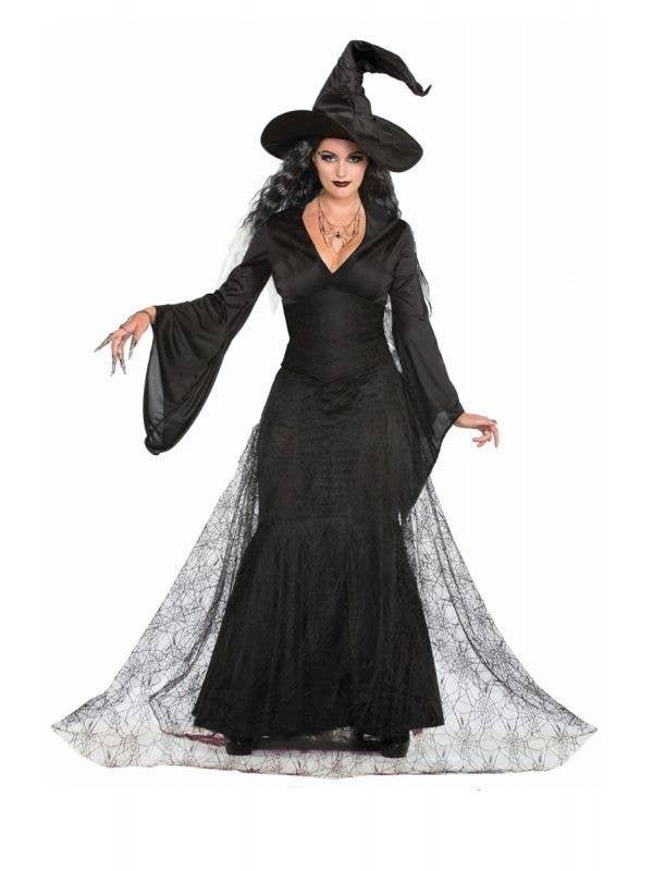 Women's Long Black Scary Black Mist Halloween Witch Fancy Dress Costume Main Image