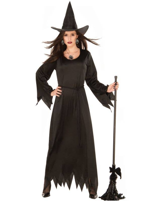 Women's Classic Black Witch Halloween Fancy Dress Costume Main Image
