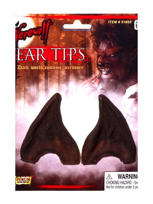 Pointed Brown Latex Werewolf Ear Tips Costume Accessory