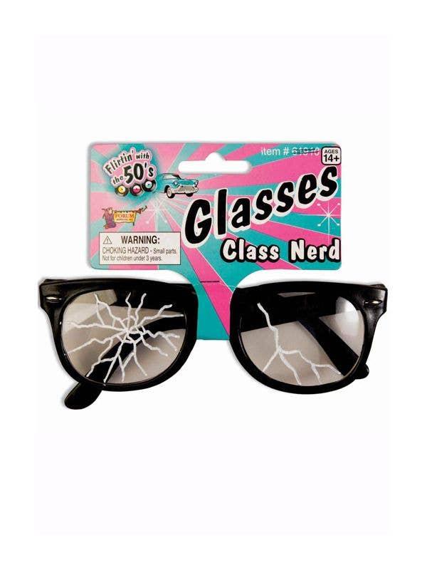 Black Rimmed Nerd Costume Glasses with Fake Cracked Lenses