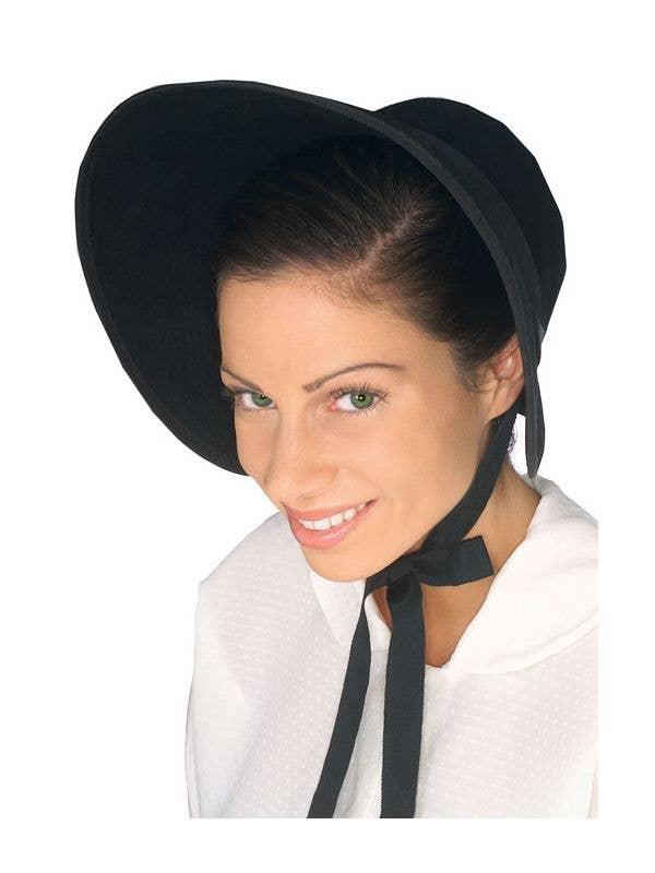 Colonial Women's Black Bonnet Costume Hat