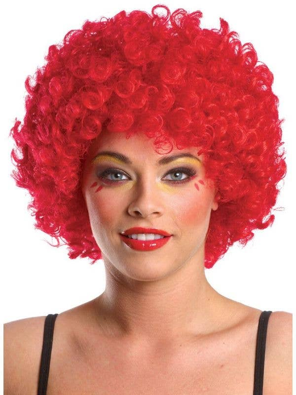 Adult's Bright Red Afro Fancy Dress Costume Wig Main Image