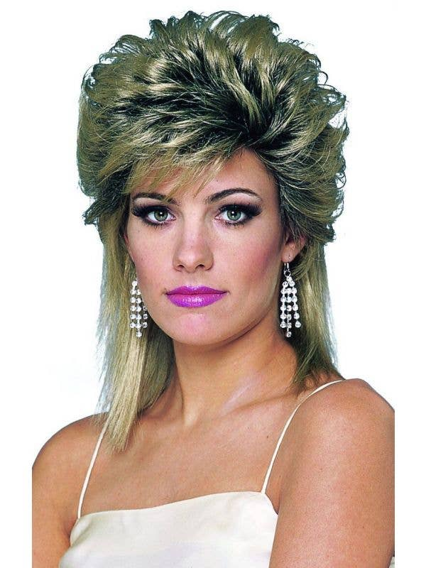 Women's 1980's Soap Star Blonde Mullet Wig with Black Regrowth 80s Costume Accessory - Main Image