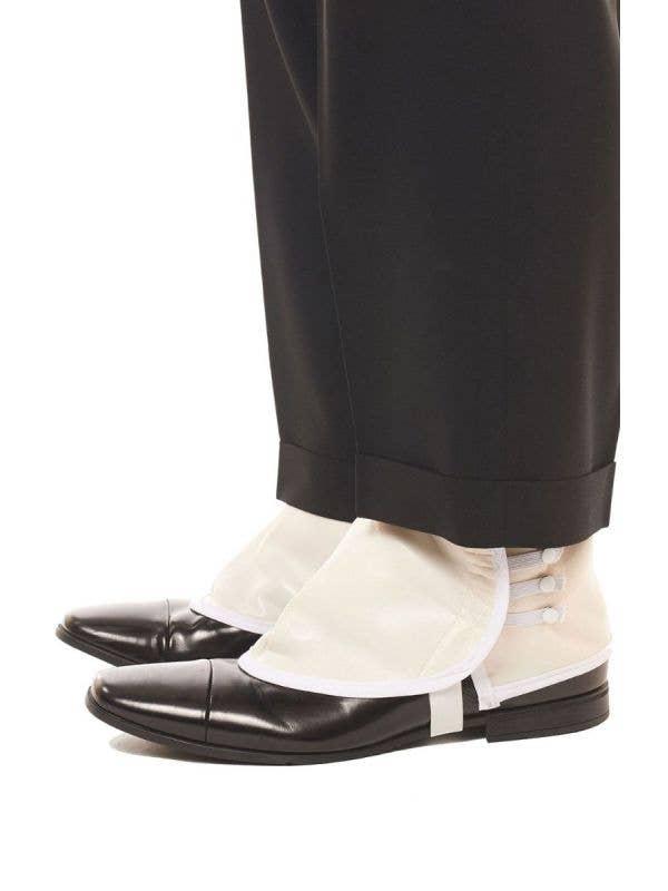 Men's White Vinyl 1920s Gangster Shoe Spats Costume Accessory - Main Image