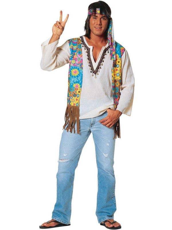 Men's 60's Hippie Dude Fancy Dress Costume Main Image