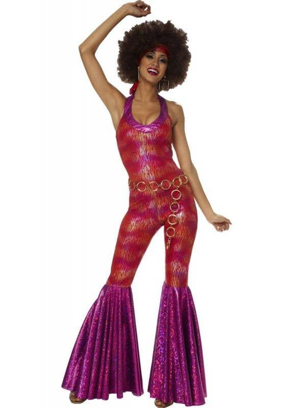 Women's Purple Foxy Lady Fancy Dress 70s Costume - Main Image