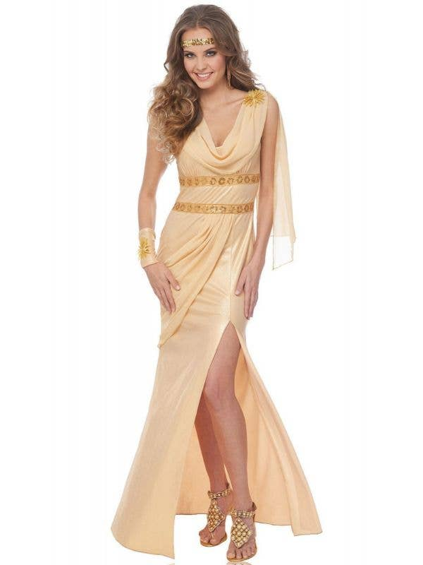 Women's Sexy Golden Goddess Of The Sun Fancy Dress Costume Main Image