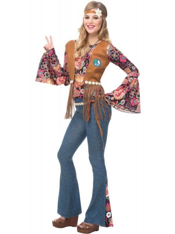 Women's Peace Out Hippie 1970's Fancy Dress Costume Main Image