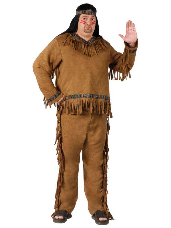 Men's Plus Size Tan Brown Native American Indian Costume Front View