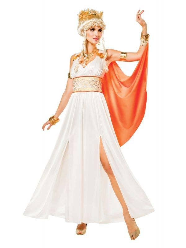 Women's White And Orange Greek Goddess Athena Fancy Dress Costume Main Image